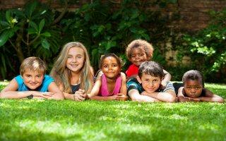 kids playing on grass